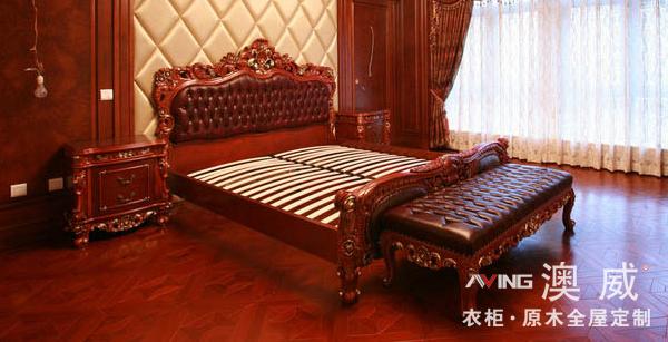 澳威实木床-床-纯原木定制家具系列-重庆澳威衣柜